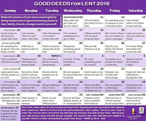 Lenten Calendar 2016
